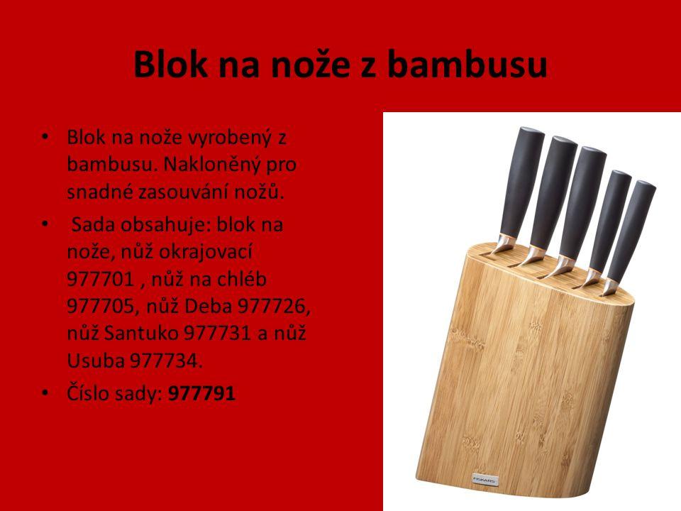 Blok na nože z bambusu Blok na nože vyrobený z bambusu. Nakloněný pro snadné zasouvání nožů. Sada obsahuje: blok na nože, nůž okrajovací 977701, nůž n