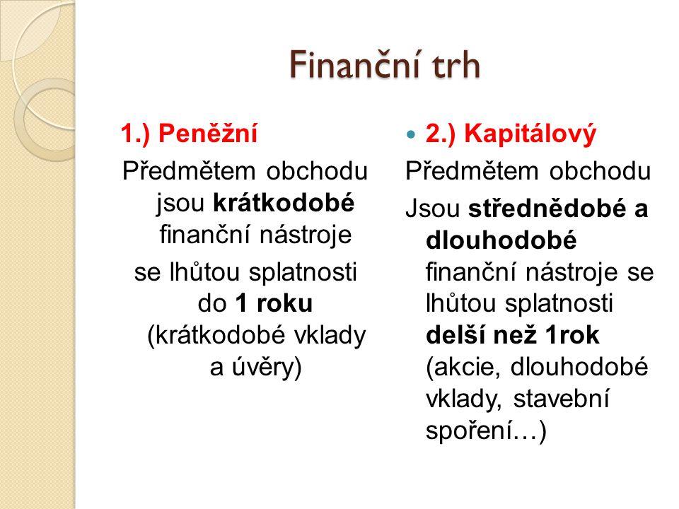 Finanční trh 1.) Peněžní Předmětem obchodu jsou krátkodobé finanční nástroje se lhůtou splatnosti do 1 roku (krátkodobé vklady a úvěry) 2.) Kapitálový Předmětem obchodu Jsou střednědobé a dlouhodobé finanční nástroje se lhůtou splatnosti delší než 1rok (akcie, dlouhodobé vklady, stavební spoření…)