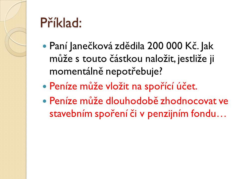 Příklad: Paní Janečková zdědila 200 000 Kč.