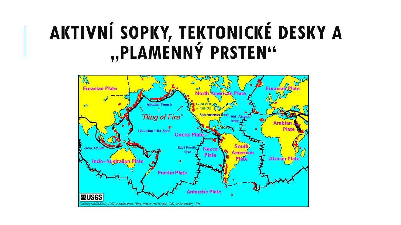 """AKTIVNÍ SOPKY, TEKTONICKÉ DESKY A """"PLAMENNÝ PRSTEN"""
