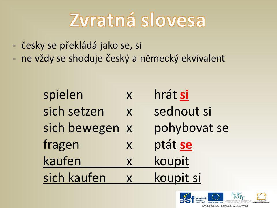 -česky se překládá jako se, si -ne vždy se shoduje český a německý ekvivalent spielenxhrát si sich setzenxsednout si sich bewegen xpohybovat se fragen