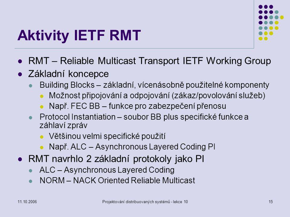 11.10.2006Projektování distribuovaných systémů - lekce 1015 Aktivity IETF RMT RMT – Reliable Multicast Transport IETF Working Group Základní koncepce