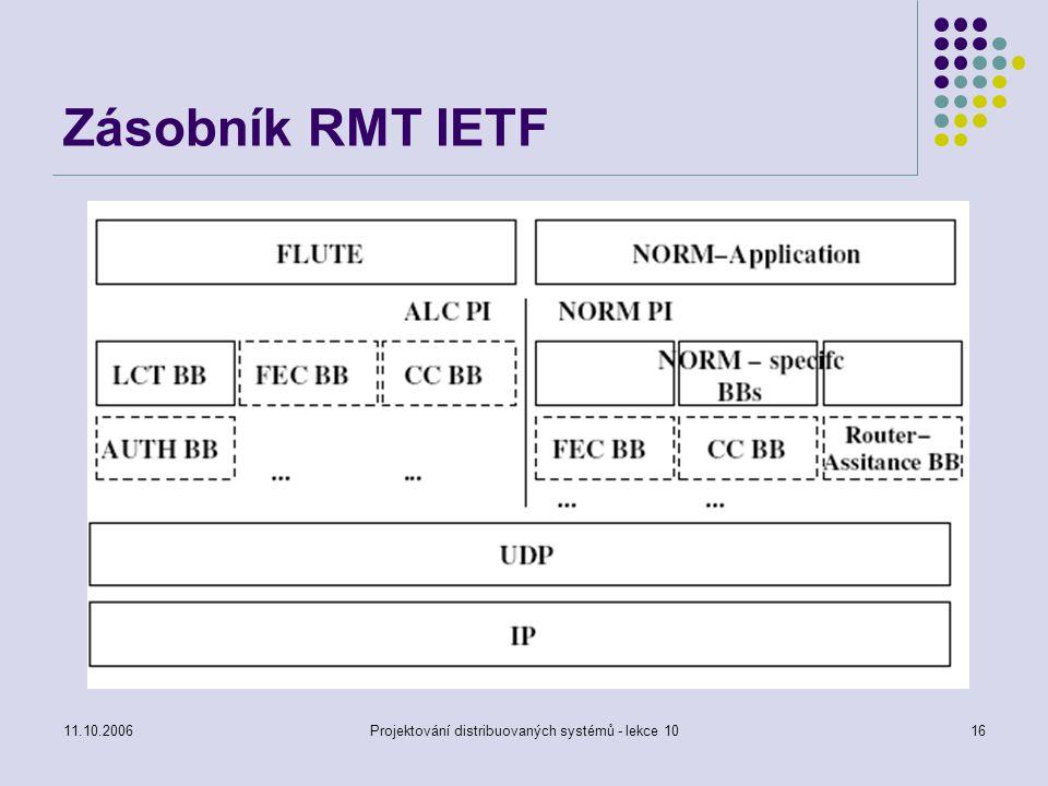 11.10.2006Projektování distribuovaných systémů - lekce 1016 Zásobník RMT IETF