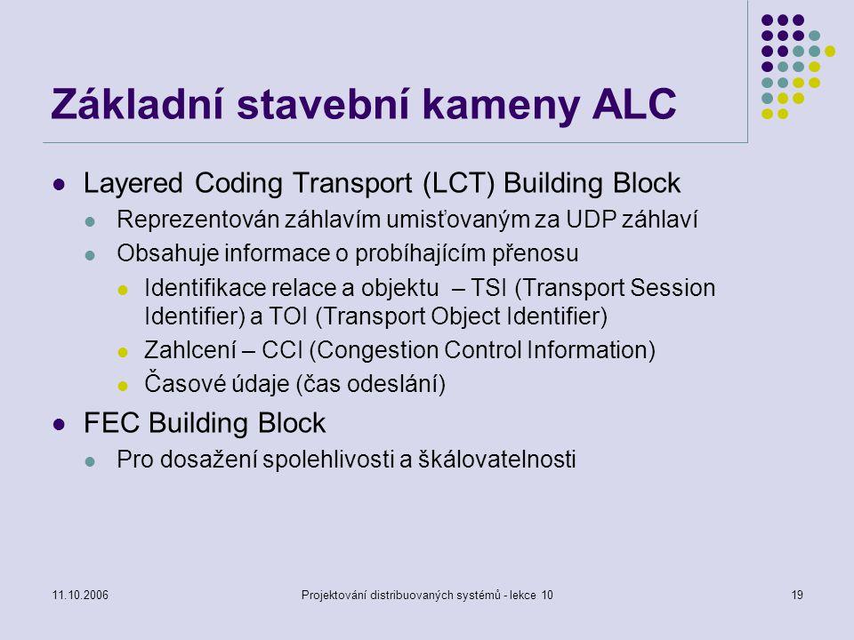 11.10.2006Projektování distribuovaných systémů - lekce 1019 Základní stavební kameny ALC Layered Coding Transport (LCT) Building Block Reprezentován z