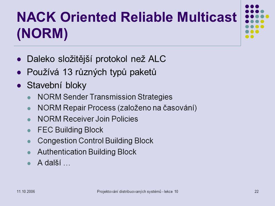 11.10.2006Projektování distribuovaných systémů - lekce 1022 NACK Oriented Reliable Multicast (NORM) Daleko složitější protokol než ALC Používá 13 různ