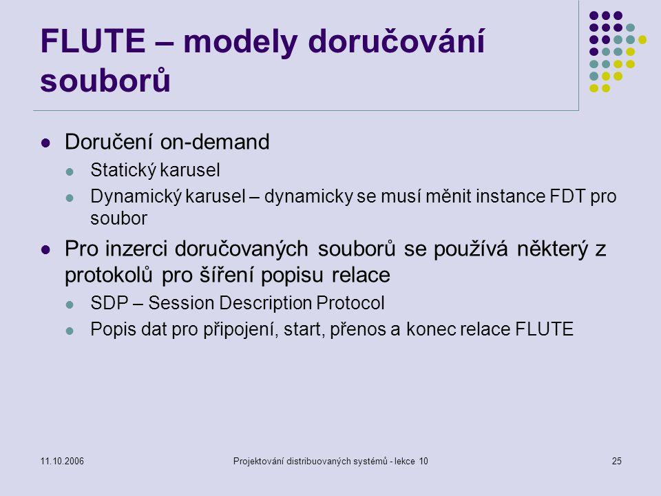 11.10.2006Projektování distribuovaných systémů - lekce 1025 FLUTE – modely doručování souborů Doručení on-demand Statický karusel Dynamický karusel –