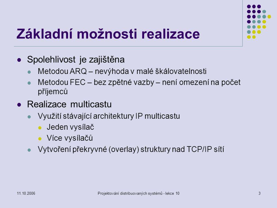 11.10.2006Projektování distribuovaných systémů - lekce 1014 TCP-XM Rozšíření TCP pro přenos dat v IP multicast nebo IP unicast prostředí Pracuje nad UDP Odesílatel posílá požadavek zprávou typu multicast, příjemce odpovídá zprávou typu unicast Nová implementace TCP nad IP Problém se synchronizací přenosu Využití minimálního okénka pro všechny Použití tam, kde je skupina příjemců malá a známá (10 – 20), vysoká přenosová rychlost (multi GB) Např.