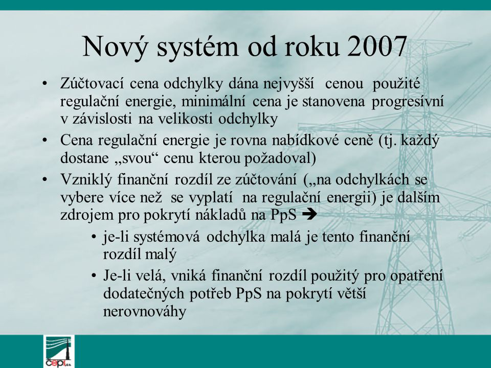 Nový systém od roku 2007 Zúčtovací cena odchylky dána nejvyšší cenou použité regulační energie, minimální cena je stanovena progresívní v závislosti n