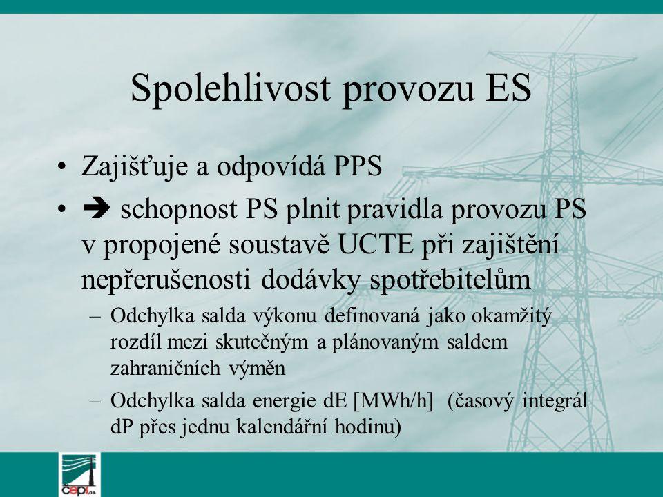 Spolehlivost provozu ES Zajišťuje a odpovídá PPS  schopnost PS plnit pravidla provozu PS v propojené soustavě UCTE při zajištění nepřerušenosti dodáv
