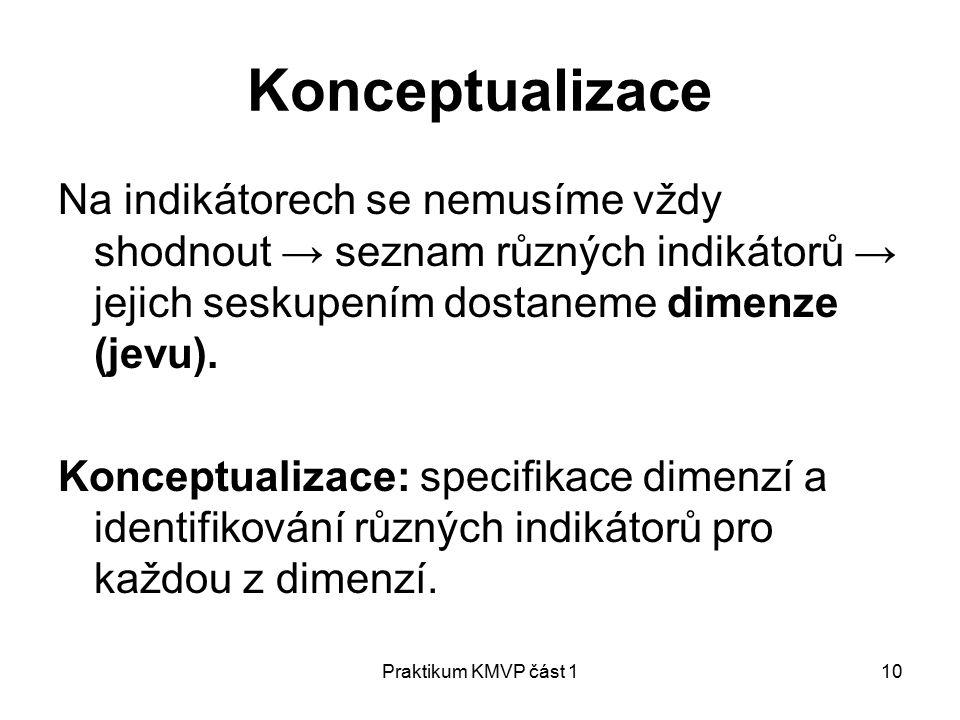 Praktikum KMVP část 110 Konceptualizace Na indikátorech se nemusíme vždy shodnout → seznam různých indikátorů → jejich seskupením dostaneme dimenze (jevu).