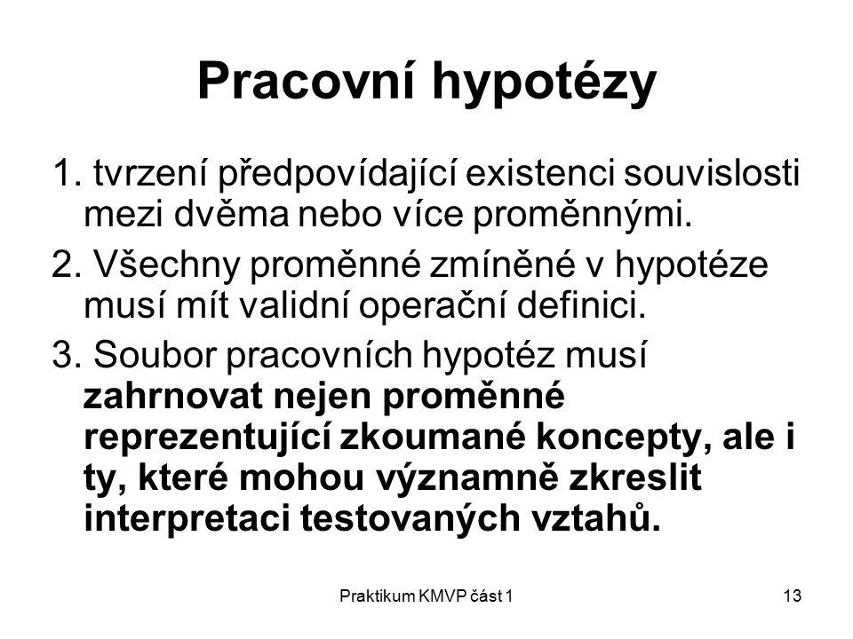 Praktikum KMVP část 113 Pracovní hypotézy 1.
