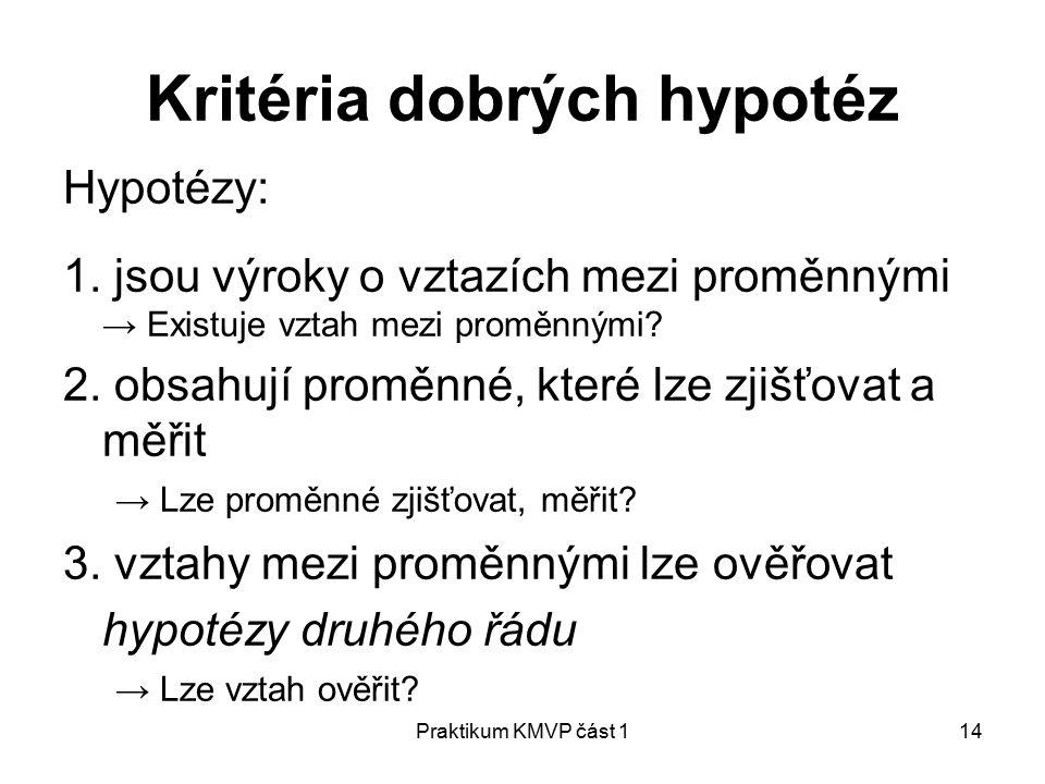 Praktikum KMVP část 114 Kritéria dobrých hypotéz Hypotézy: 1.