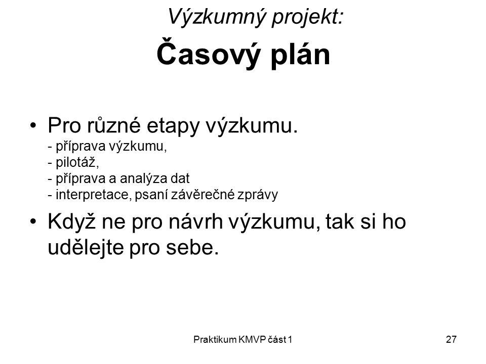 Praktikum KMVP část 127 Časový plán Pro různé etapy výzkumu.