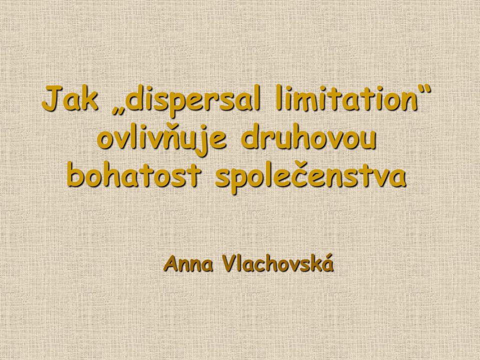 """Jak """"dispersal limitation ovlivňuje druhovou bohatost společenstva Anna Vlachovská"""