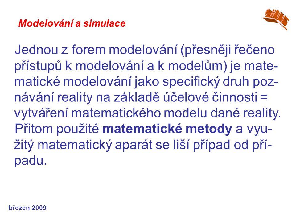 březen 2009 Jednou z forem modelování (přesněji řečeno přístupů k modelování a k modelům) je mate- matické modelování jako specifický druh poz- návání