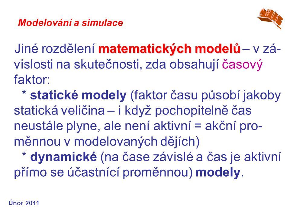 matematických modelů Jiné rozdělení matematických modelů – v zá- vislosti na skutečnosti, zda obsahují časový faktor: * statické modely (faktor času p