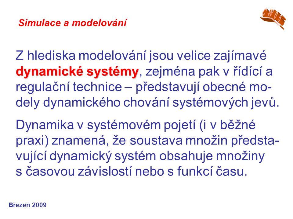 dynamické systémy Z hlediska modelování jsou velice zajímavé dynamické systémy, zejména pak v řídící a regulační technice – představují obecné mo- del