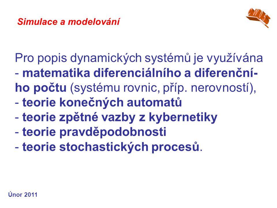 Pro popis dynamických systémů je využívána - matematika diferenciálního a diferenční- ho počtu (systému rovnic, příp. nerovností), - teorie konečných