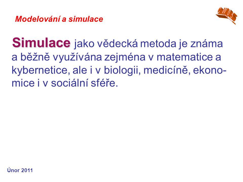 Simulace Simulace jako vědecká metoda je známa a běžně využívána zejména v matematice a kybernetice, ale i v biologii, medicíně, ekono- mice i v sociá