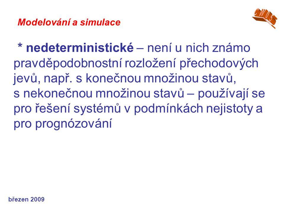 březen 2009 * nedeterministické – není u nich známo pravděpodobnostní rozložení přechodových jevů, např. s konečnou množinou stavů, s nekonečnou množi