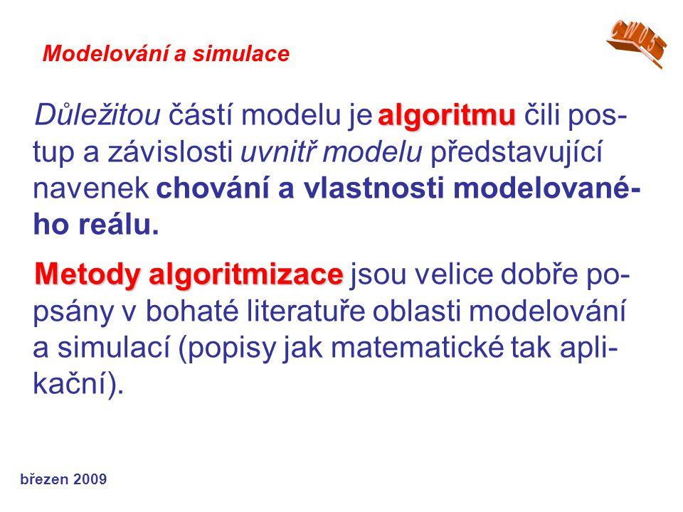březen 2009 algoritmu Důležitou částí modelu je algoritmu čili pos- tup a závislosti uvnitř modelu představující navenek chování a vlastnosti modelova