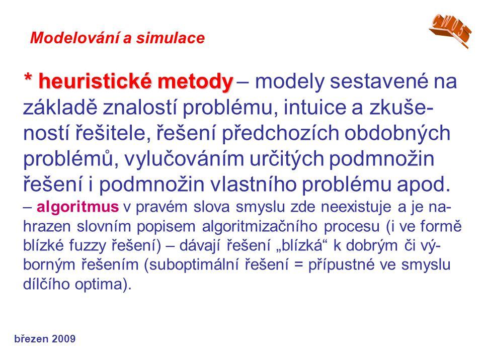 březen 2009 * heuristické metody * heuristické metody – modely sestavené na základě znalostí problému, intuice a zkuše- ností řešitele, řešení předcho