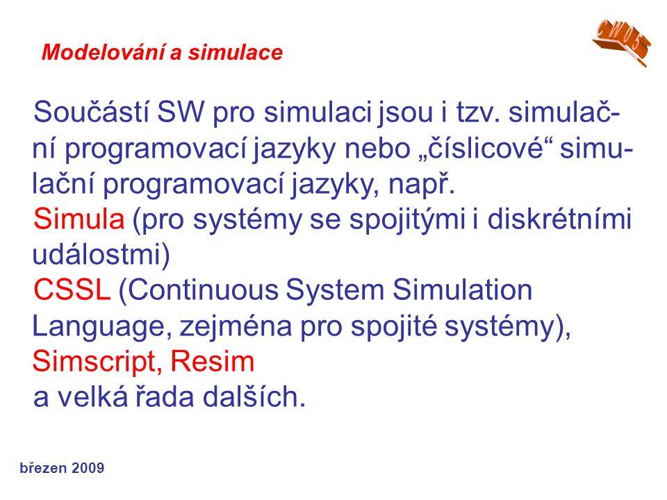"""březen 2009 Součástí SW pro simulaci jsou i tzv. simulač- ní programovací jazyky nebo """"číslicové"""" simu- lační programovací jazyky, např. Simula (pro s"""