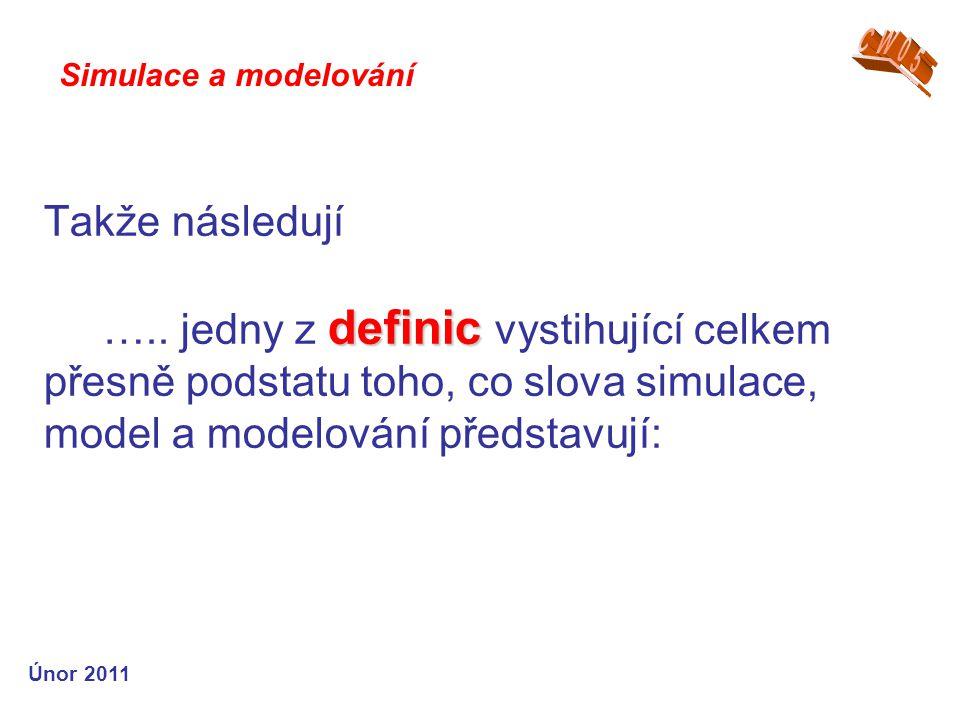 definic Takže následují ….. jedny z definic vystihující celkem přesně podstatu toho, co slova simulace, model a modelování představují: Simulace a mod