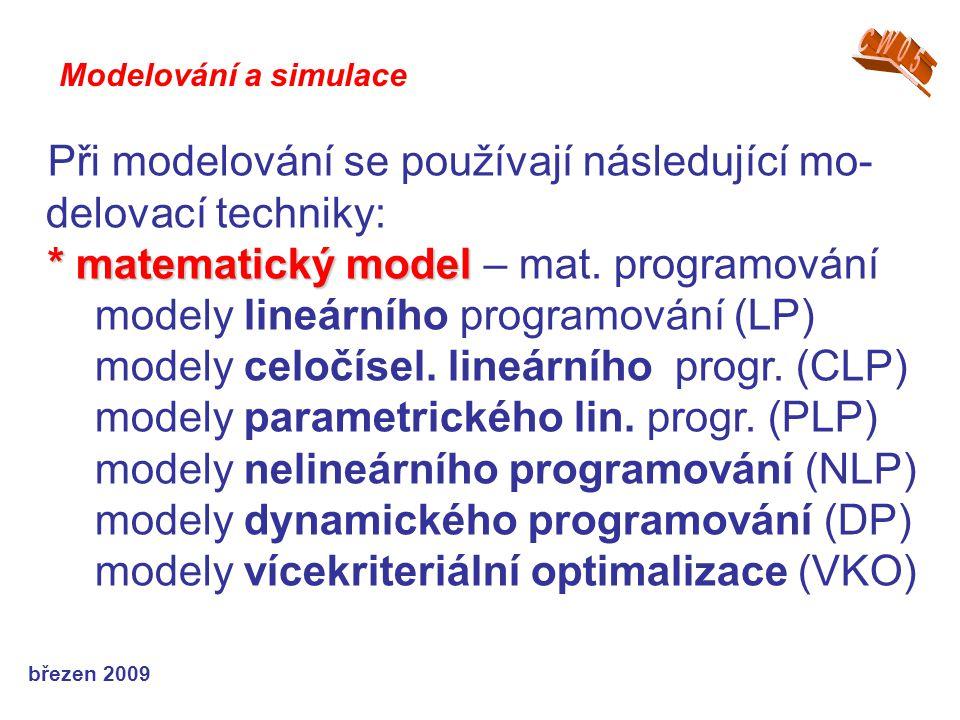 březen 2009 Při modelování se používají následující mo- delovací techniky: * matematický model * matematický model – mat. programování modely lineární