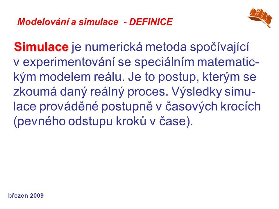 březen 2009 Simulace Simulace je numerická metoda spočívající v experimentování se speciálním matematic- kým modelem reálu. Je to postup, kterým se zk