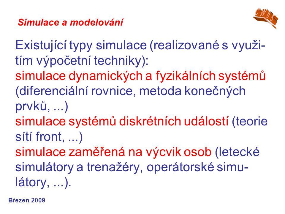 Existující typy simulace (realizované s využi- tím výpočetní techniky): simulace dynamických a fyzikálních systémů (diferenciální rovnice, metoda kone