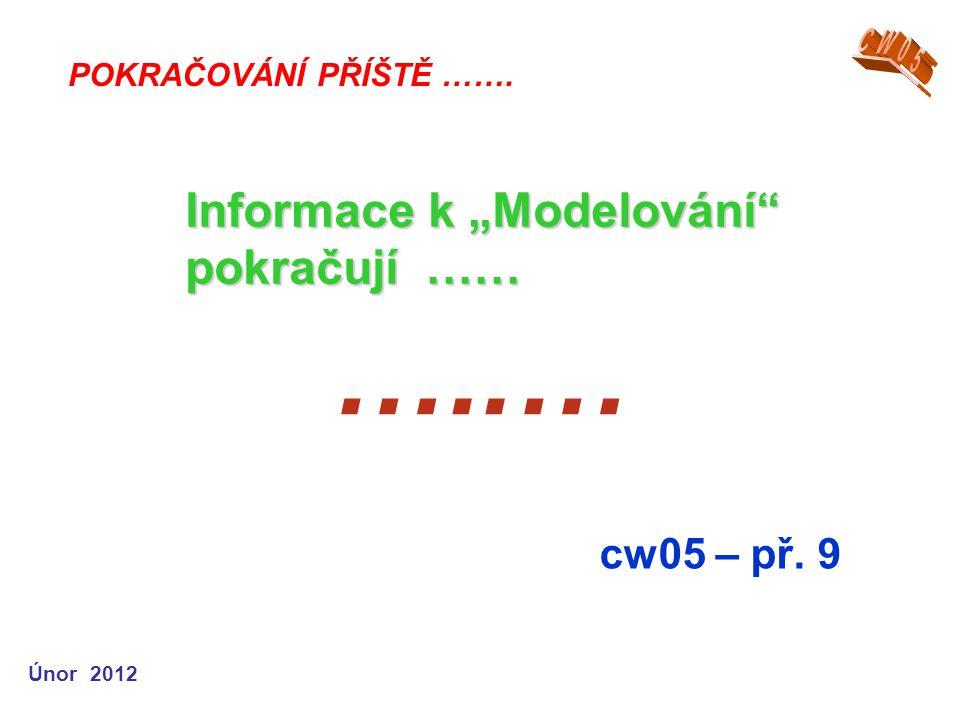 """Únor 2012 …..… cw05 – př. 9 POKRAČOVÁNÍ PŘÍŠTĚ ……. Informace k """"Modelování"""" pokračují ……"""