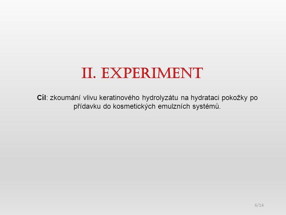 II. ExperimeNt 6/14 Cíl: zkoumání vlivu keratinového hydrolyzátu na hydrataci pokožky po přídavku do kosmetických emulzních systémů.