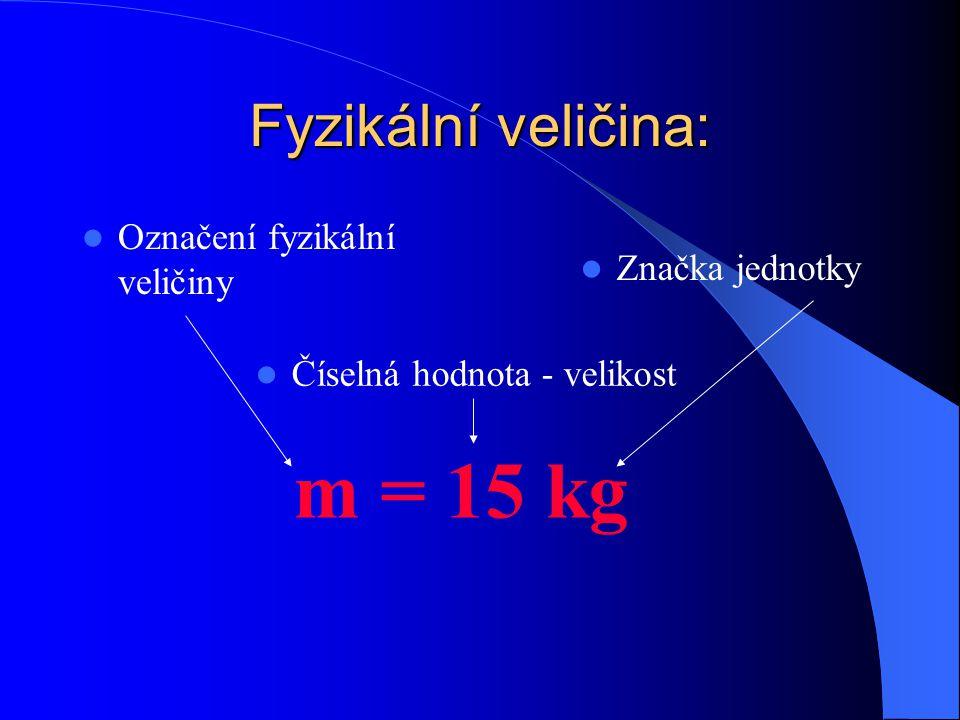 Fyzikální veličina: Označení fyzikální veličiny Číselná hodnota - velikost m = 15 kg Značka jednotky