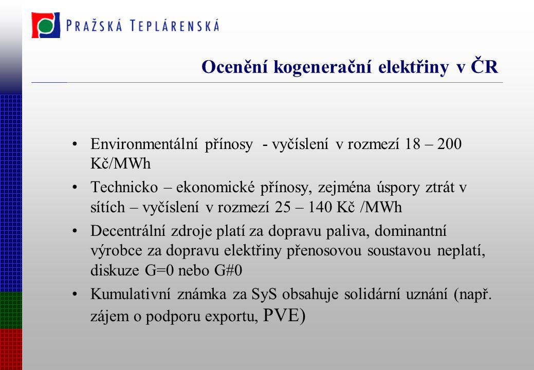 Ocenění kogenerační elektřiny v ČR Environmentální přínosy - vyčíslení v rozmezí 18 – 200 Kč/MWh Technicko – ekonomické přínosy, zejména úspory ztrát v sítích – vyčíslení v rozmezí 25 – 140 Kč /MWh Decentrální zdroje platí za dopravu paliva, dominantní výrobce za dopravu elektřiny přenosovou soustavou neplatí, diskuze G=0 nebo G#0 Kumulativní známka za SyS obsahuje solidární uznání (např.