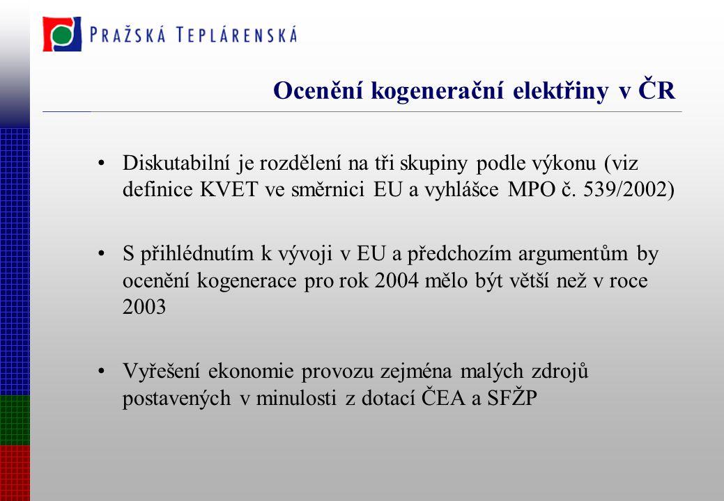 Ocenění kogenerační elektřiny v ČR Diskutabilní je rozdělení na tři skupiny podle výkonu (viz definice KVET ve směrnici EU a vyhlášce MPO č.