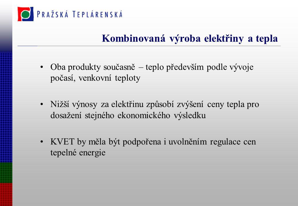 Kombinovaná výroba elektřiny a tepla Oba produkty současně – teplo především podle vývoje počasí, venkovní teploty Nižší výnosy za elektřinu způsobí zvýšení ceny tepla pro dosažení stejného ekonomického výsledku KVET by měla být podpořena i uvolněním regulace cen tepelné energie
