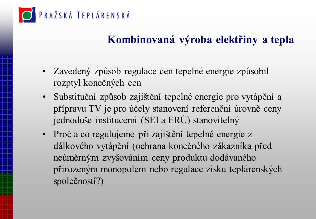 Kombinovaná výroba elektřiny a tepla Zavedený způsob regulace cen tepelné energie způsobil rozptyl konečných cen Substituční způsob zajištění tepelné energie pro vytápění a přípravu TV je pro účely stanovení referenční úrovně ceny jednoduše institucemi (SEI a ERÚ) stanovitelný Proč a co regulujeme při zajištění tepelné energie z dálkového vytápění (ochrana konečného zákazníka před neúměrným zvyšováním ceny produktu dodávaného přirozeným monopolem nebo regulace zisku teplárenských společností?)