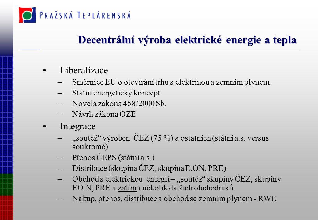 Decentrální výroba elektrické energie a tepla Liberalizace –Směrnice EU o otevírání trhu s elektřinou a zemním plynem –Státní energetický koncept –Novela zákona 458/2000 Sb.