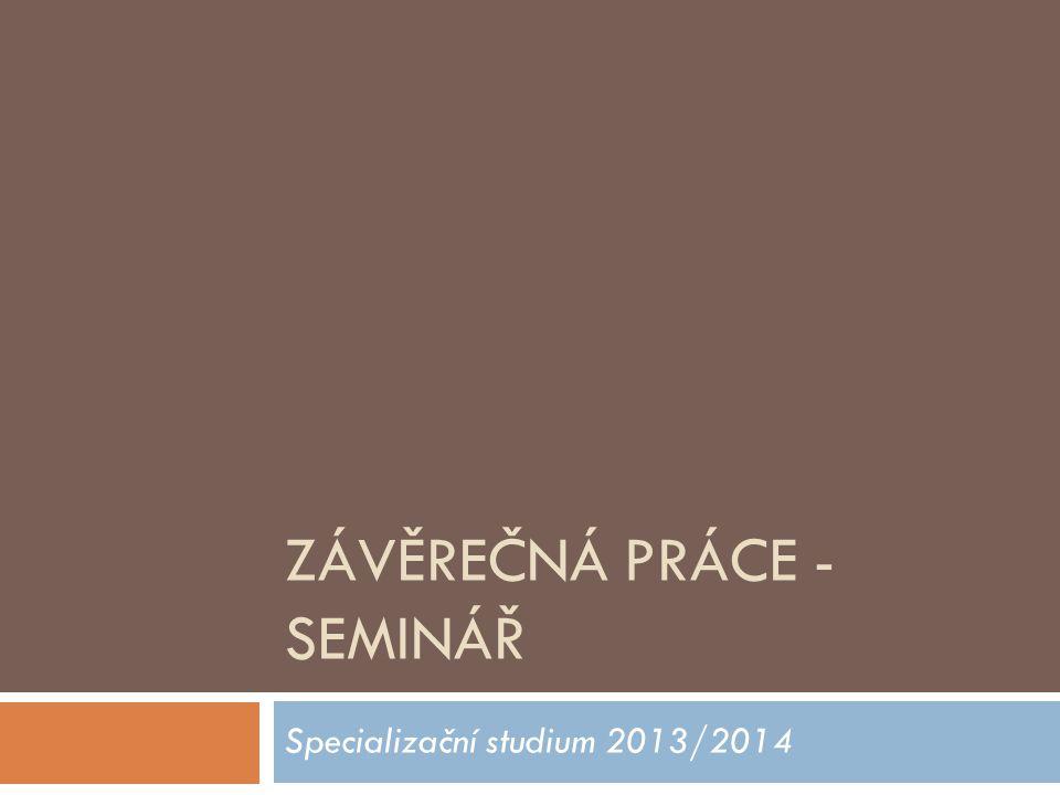 ZÁVĚREČNÁ PRÁCE - SEMINÁŘ Specializační studium 2013/2014