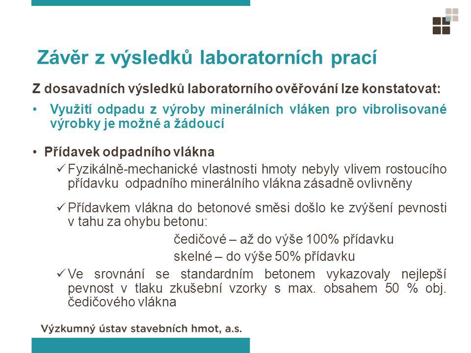 Závěr z výsledků laboratorních prací Z dosavadních výsledků laboratorního ověřování lze konstatovat: Využití odpadu z výroby minerálních vláken pro vi