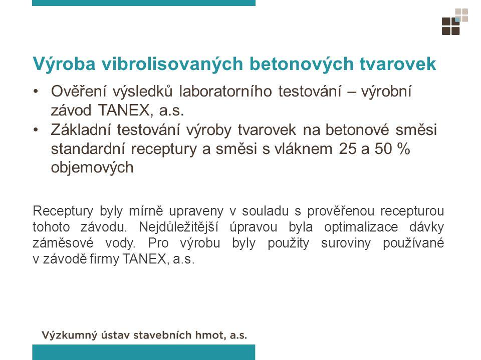 Výroba vibrolisovaných betonových tvarovek Ověření výsledků laboratorního testování – výrobní závod TANEX, a.s. Základní testování výroby tvarovek na
