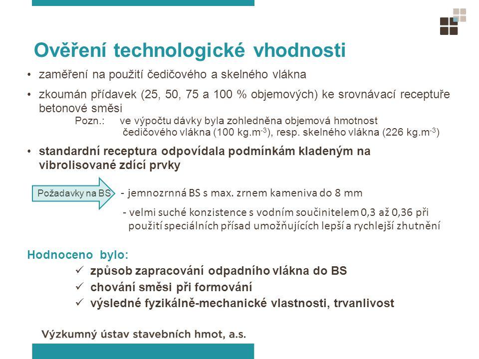 Ověření technologické vhodnosti zaměření na použití čedičového a skelného vlákna zkoumán přídavek (25, 50, 75 a 100 % objemových) ke srovnávací recept
