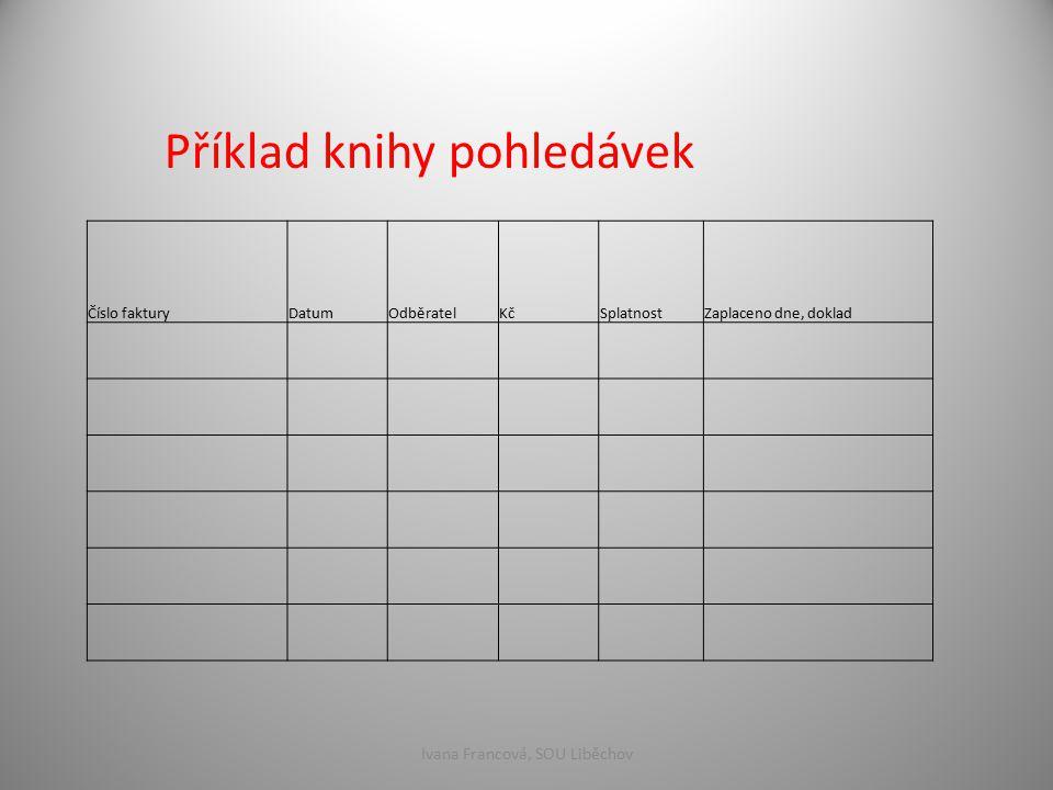 Příklad knihy pohledávek Číslo fakturyDatumOdběratelKčSplatnostZaplaceno dne, doklad Ivana Francová, SOU Liběchov