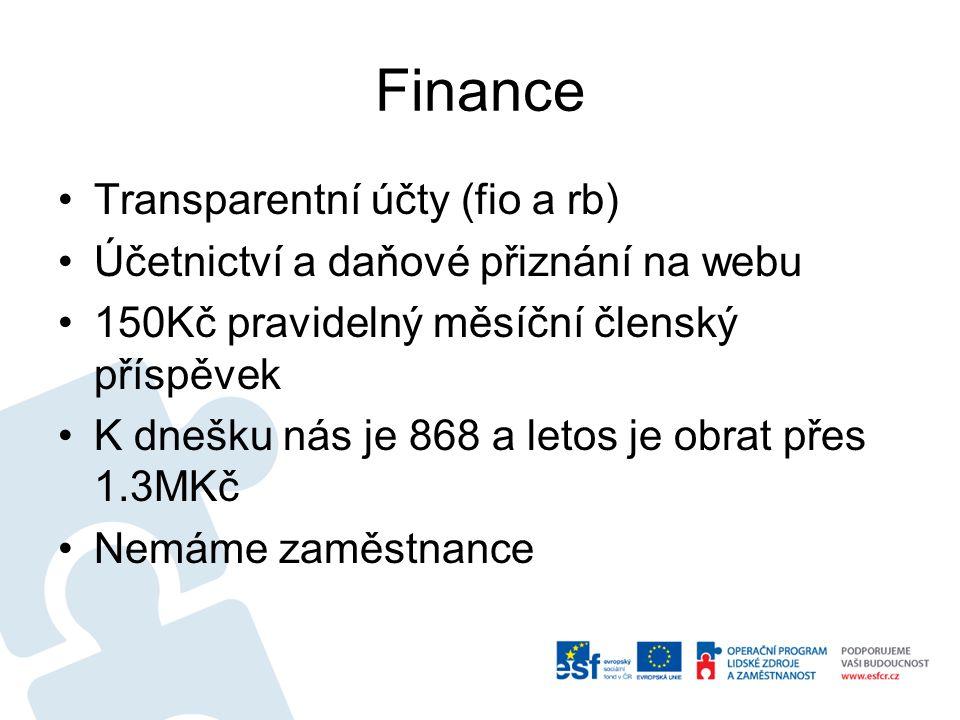 Finance Transparentní účty (fio a rb) Účetnictví a daňové přiznání na webu 150Kč pravidelný měsíční členský příspěvek K dnešku nás je 868 a letos je obrat přes 1.3MKč Nemáme zaměstnance