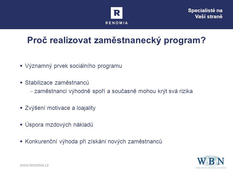 Specialisté na Vaší straně www.renomia.cz Proč realizovat zaměstnanecký program?  Významný prvek sociálního programu  Stabilizace zaměstnanců  zamě