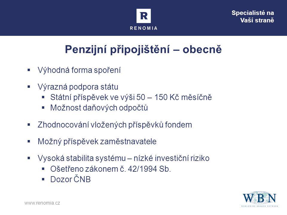 Specialisté na Vaší straně www.renomia.cz  Výhodná forma spoření  Výrazná podpora státu  Státní příspěvek ve výši 50 – 150 Kč měsíčně  Možnost daň