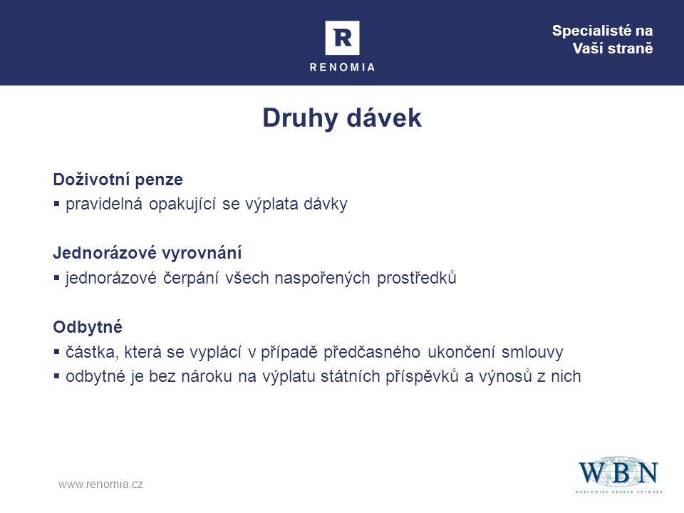 Specialisté na Vaší straně www.renomia.cz Druhy dávek Doživotní penze  pravidelná opakující se výplata dávky Jednorázové vyrovnání  jednorázové čerp