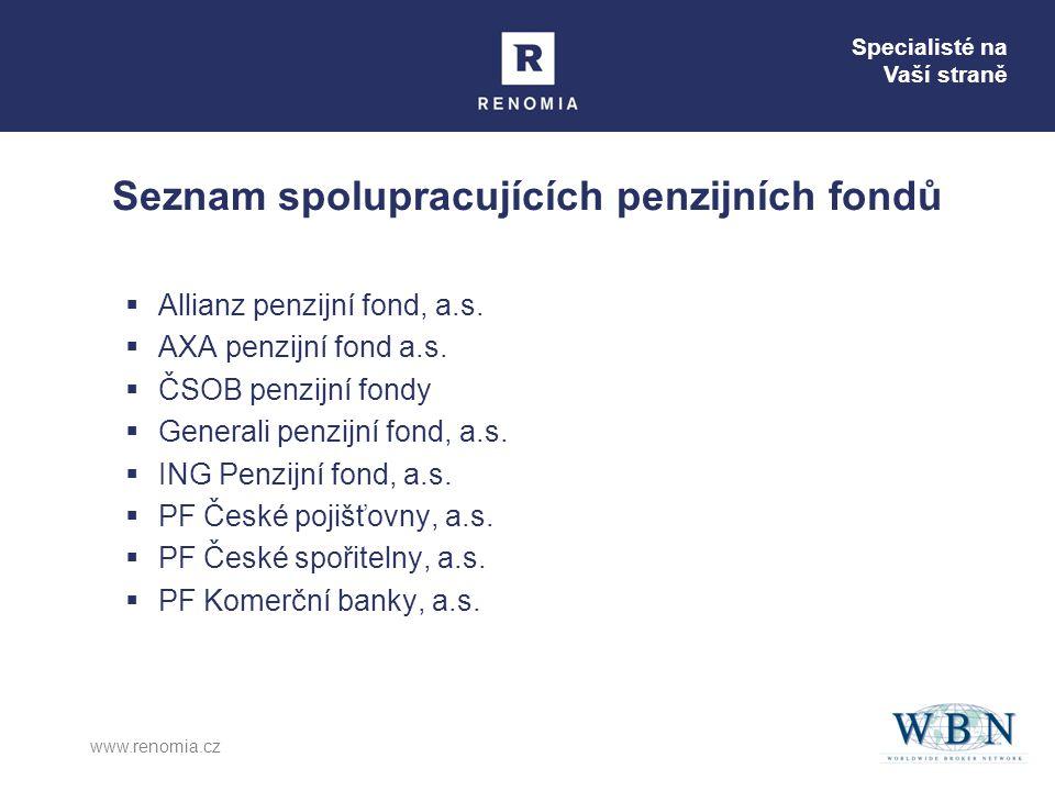 Specialisté na Vaší straně www.renomia.cz Seznam spolupracujících penzijních fondů  Allianz penzijní fond, a.s.  AXA penzijní fond a.s.  ČSOB penzi