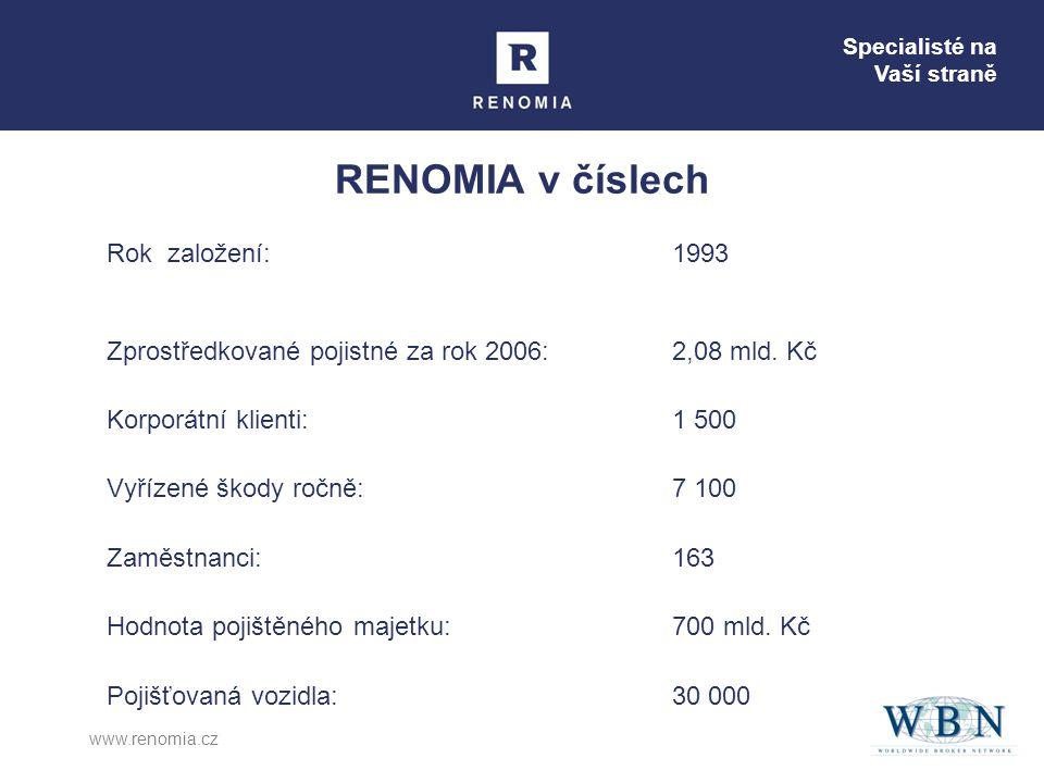 Specialisté na Vaší straně www.renomia.cz RENOMIA v číslech Rok založení:1993 Zprostředkované pojistné za rok 2006:2,08 mld. Kč Korporátní klienti: 1